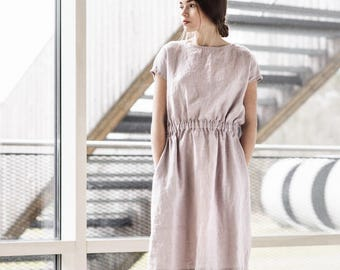 Basic linen dress with elastic waistband in ashes of rose color / Washed linen dress