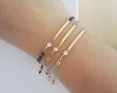 Gold Bar bracelet, Evil eye  bracelet, Friendship bracelet, Macrame bracelet, Simple gold bracelet, Gift for her, Birthday gift, Enamel