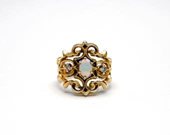 Filigree Opal Diamond Ring
