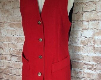 Vintage Long Waistcoat Vest Top Red Wool Autumn Fall Winter Christmas c1980s