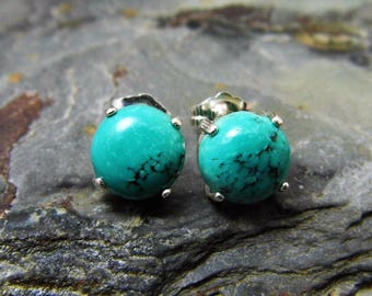 Turquoise Stud Earrings Sterling Silver December Birthstone 8mm Cabochons