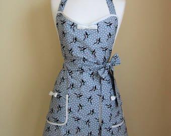 Apron/ Swallows Apron /Retro Apron / Womens Apron / Vintage Style Apron/ Retro Bird Apron / Handmade Apron / Blue/Grey Apron