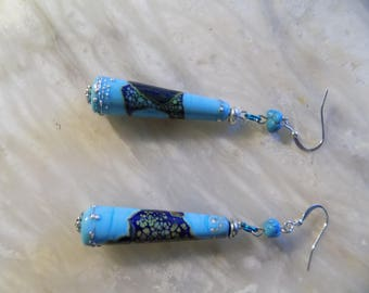 Turquoise and Cream Earrings
