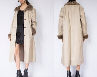 LONG COAT -faux fur collar, beige, brown, trench, parka, classy, clueless, 90s, winter, maxi, jacket-