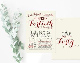 40th Anniversary Invitation - 40th Wedding Anniversary Invite - Custom Background Color -  Printable No.532ANNIVERSARY