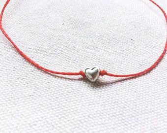 Heart Charm Bracelet, heart Thread Bracelet