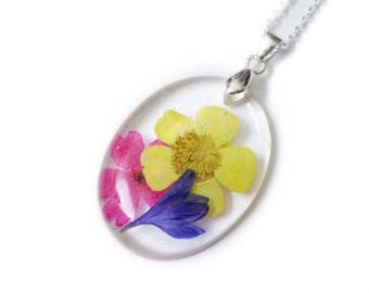 Colorful Flower Resin Necklace - Nature - Real Flowers - Nature Jewelry - Verbena, Daisy- Valenwood Vixen - Ready to Ship