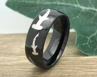 Hammerhead Shark Ring, Personalize Custom Engrave Tungsten Ring with Hammerhead Shark Design, Black Ring, Father's Day Gift
