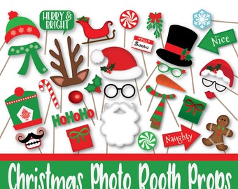 Christmas Photo Booth Props Decorations and Banner - Printable Photo Props - Includes over 60 Props in PDF Format - Instant Digital Download
