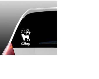 I Love My Chug/Chugs Car Window Decal