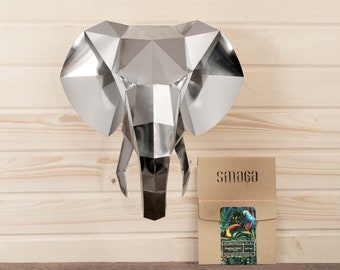 Elephant papercraft KIT | Mirror wall decor | 3D wall art | Paper animal head | Faux taxidermy | Paper trophy | Housewarming gift