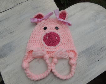 Crochet pig hat, Luv Beanies, Pink pig Hat, Animal hats, Hats for kids, Girls hats, Hats for Girls, Pig Photo Prop, Baby Hats