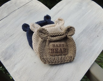 Knit Bear Beanie, Luv Beanies, Baby Bear hat, Baby boy hats, Boy Beanies, Baby Hats, Photo Prop, Knit baby hats, personalized hats,