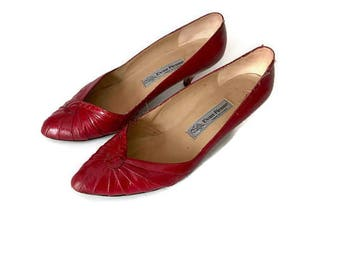 SALE Vintage Red Leather PUMPS 1980s high heels red heels BOHO hipster evan picone womens size 7.5