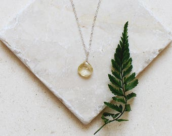 Tiny citrine necklace - Small citrine faceted teardrop necklace - Natural yellow citrine crystal necklace - November birthstone necklace