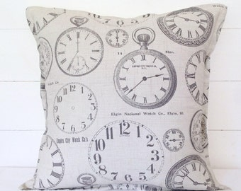 "Cushion Cover, Vintage Clocks Cushion Cover 16"" 18"" 20"", Clocks Cushion, Clocks Pillow, Square Cushion, Pillow Case, Scatter Cushion, Clocks"