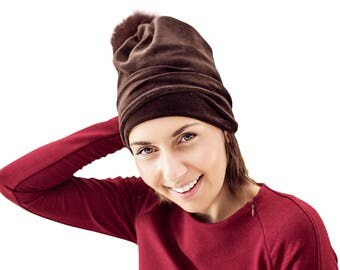 Beanie women, women fur pom pom hat, woman winter hat, winter warm beanie with real fur pom pom, velour beanie,