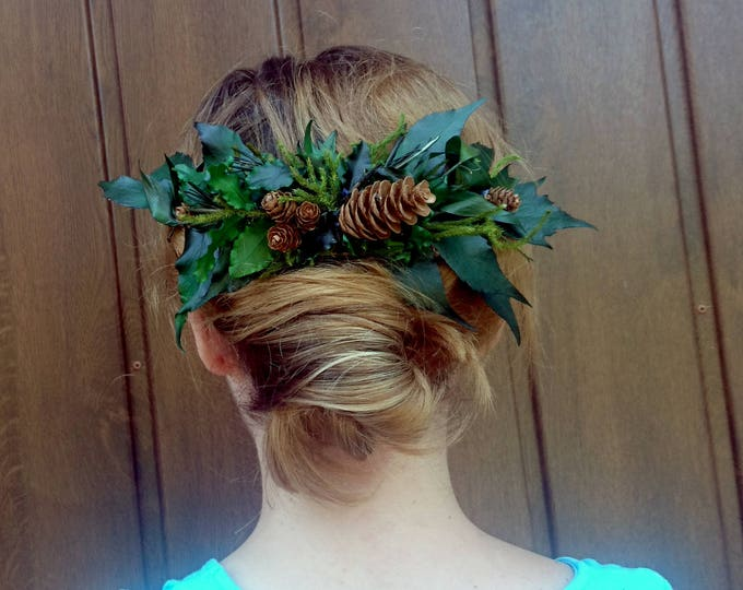 Greenery natural hair comb wedding bridal hairpiece green preserved real leafs pine cones woodland style boho hairstyle accessory rustic