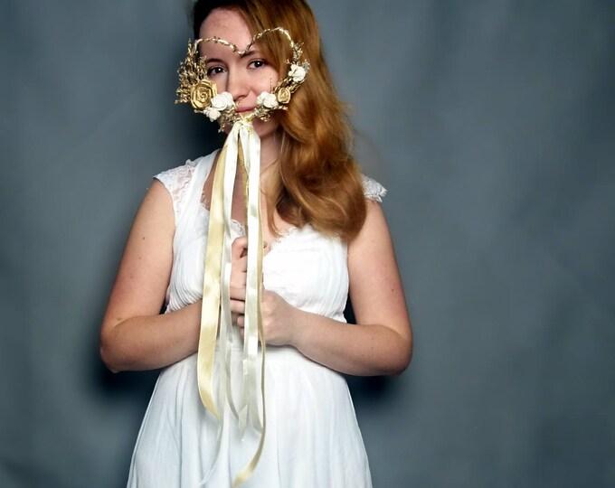 Gold ivory heart shaped flower girl wand elegant wedding bouquet retro sola flowers dried flowers satin ribbon carnival wedding