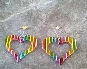 Multi-Colored Heart Earrings/Resin Rainbow Earrings/Vintage Rainbow Heart Earrings/Heart Resin Vintage Earrings/Multi Rainbow Earrings