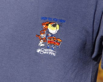 90's CHESTER CHEETO shop til you drop blue embroidered t-shirt size medium