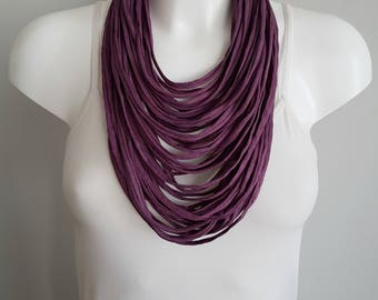 Scarf necklace for woman, T shirt necklace, fabric necklace, multi strand necklace , purple necklace, christmas infinity scarf