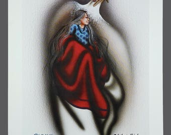 "1993 Robert Redbird ""The Messenger"" Native American Giclee Print Limited Edition 117/1000 Signed 11 x 15 Vintage Signed"