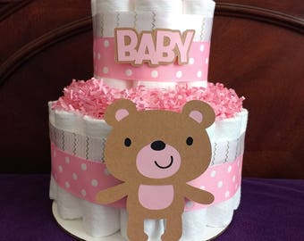 Diaper Cake - Two Tier Diaper Cake - Bear Diaper Cake - Girl Diaper Cake - Pink Teddy Bear Diaper Cake - Centerpiece - Shower Decoration