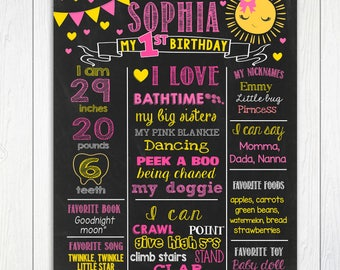 Sunshine First Birthday Chalkboard,1st birthday, My Sunshine, Pink and Yellow Chalkboard Poster,Board,PRINTABLE FILE