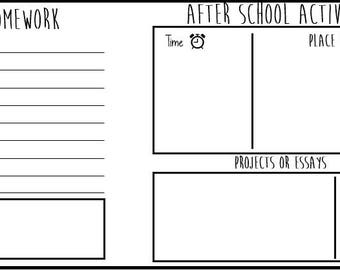 After school planner, Printable includes homework , afterschool activity  and essay/ /to-do list/ back to school/ printable planner/