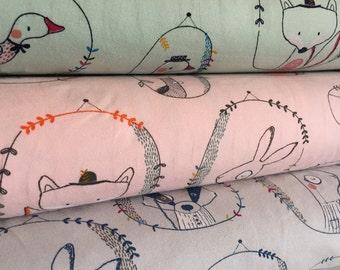 Playful Animals Cotton Mix Jersey Stretch Fabric **Baby Nursery Children**