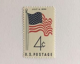 10 Fourth of July American Flag 4c US postage stamps unused - Vintage 1960 - July 4 patriotic theme veterans