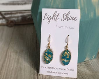 Hand Sculpted and Painted Clay and Resin Teal and Gold Drop Earrings
