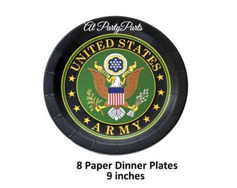 US Army dinner plates, official seal, eagle, military wedding decorations, veterans reunion, graduation, retirement, fundraiser event