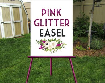 PINK GLITTER Easel . Large Magenta Easel Floor Stand . Gold Silver Black White . Display sign up to 30 x 40in Foam Board, Canvas, Wood Sign