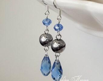 Blue Dangle Earrings Blue teardrop Crystal Earrings Blue Silver Earrings Hematite 925 Sterling Silver earrings gift gemstone earrings