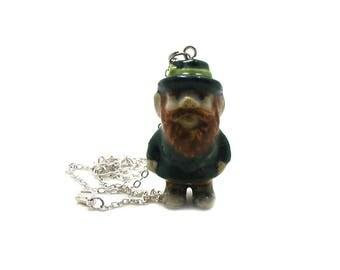 Leprechaun Necklace, Irish Necklace, Leprechaun Jewelry, Leprechaun Pendant, Lucky Leprechaun, Leprechaun Charm, St Patricks Day Necklace