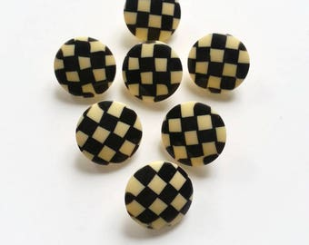 Checkerboard buttons, black and yellow fifties buttons 22 mm