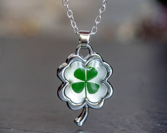 LUCK Necklace, clover necklace, Real Four Leaf Clover, tiny clover pendant, Lucky Charm, shamrock  Pendant, Birthday Gift, present, gift