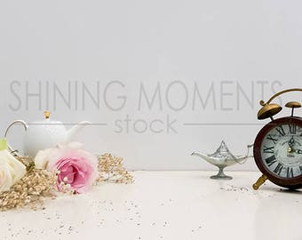 INSTANT DOWNLOAD Styled Stock Photography/ Digital Background/ High Resolution 300 dpi w/ Roses, Baby Flower, Teapot & Clock #BD09