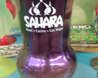 Sahara Casino Hotel Las Vegas Purple Hurricane Drink Glass