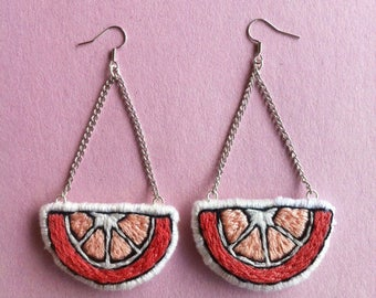 Grapefruit Patch Long Earrings / Hand Embroidered Fruit / Hand Made Felt Accessory / Travel Gift