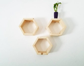 3 Hexagon Shelf Set |  Geometric Floating Shelves | Honeycomb Shelves | Home Decor