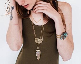 Gold Edged Grey Stone Arrowhead Necklace