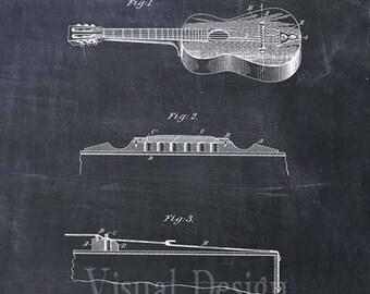 Acoustic Guitar Patent Print, Guitar Patent Art Print, Guitar Patent Poster, Music Teacher Gift, Musician Gift, Guitar Art, Music Room Art