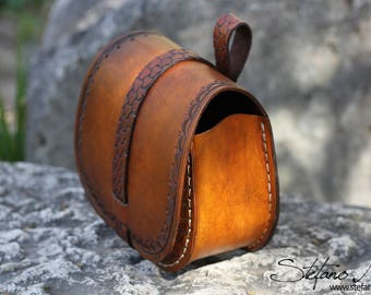 Brown toooled leather pouch - LARP and Cosplay