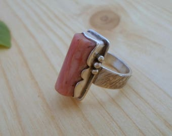 Rhodochrosite sterling silver ring, silversmith jewelry, gemstone silver ring, artisan jewelry, handmade silver ring, minimalist jewelry