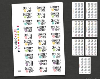 Grocery Shop Planner Stickers - Repositionable Matte Vinyl