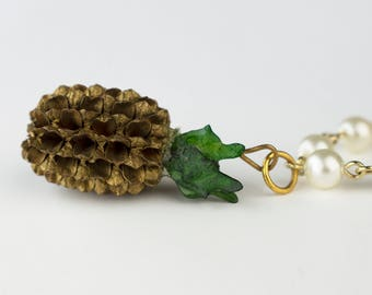 Vintage Pineapple Pearl Bracelet Charm Gold Tone Chain Link Metallic Painted Retro Statement Jewelry