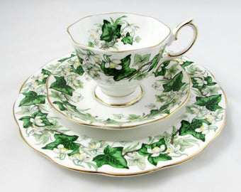 "Royal Albert, ""Ivy Lea"" Pattern Trio, Green Leaves, Bone China - Tea Cup and Saucer and Luncheon Plate"